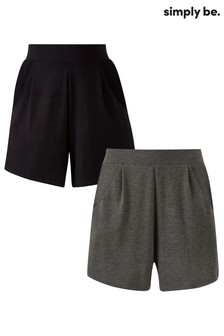 Simply Be Jersey Shorts - Pack of 2