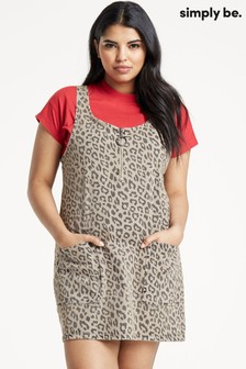 Simply Be Animal Print Pinafore Dress