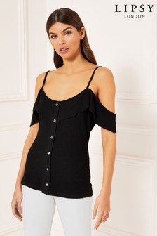 Lipsy Button Through Cold Shoulder Top