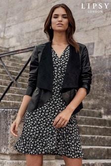 Lipsy Faux Leather Waterfall Jacket