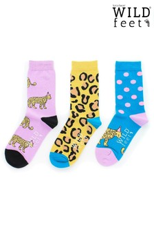 Wild Feet Leopard Socks -  Pack of 3
