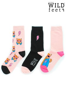 Wild Feet Cat Print Socks - Pack of 3