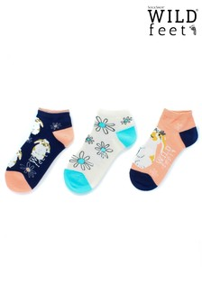 Wild Feet Bunny Trainer Socks - Pack of 3