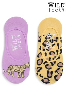 Wild Feet Leopard Invisible Socks - Pack of 2