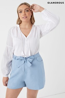 Glamorous Curve Crepe Linen Blend Shorts