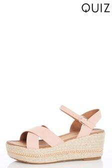 Quiz Faux Leather Chain Detail Wedge Sandals