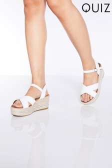Quiz Faux Leather Chain Detail Wedge Sandals