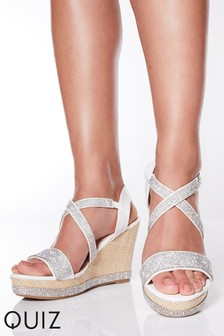 Quiz Faux Leather Diamanté Cross Strap Wedge