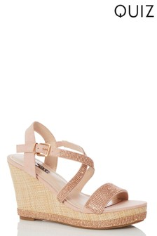 18182e940ae Quiz Diamanté X Strap Wedge Heels