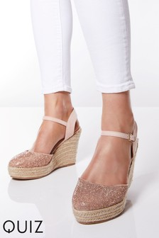 499bb40e7af9 Quiz Diamanté Espadrille Wedge Sandals