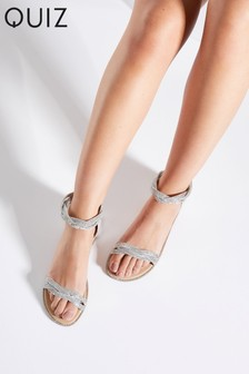 Quiz Faux Leather Two Part Flat Sandals