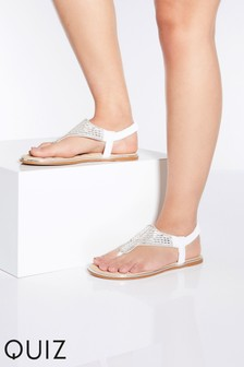 Quiz Faux Leather Diamanté Toe Post Flat Sandal