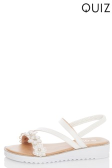 Quiz Faux Leather Asymmetric Strap Flat Sandals