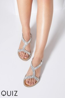9cf02a6cc5a Quiz Faux Leather Diamanté Asymmetric Strap Flat Sandal