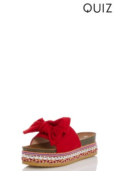 Quiz Bow Detail Wedge Sandals