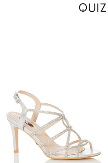 Quiz Faux Leather Diamanté Strappy Heel Sandals