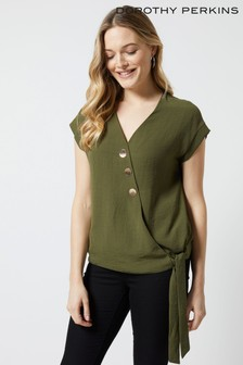 Dorothy Perkins Button Wrap Top