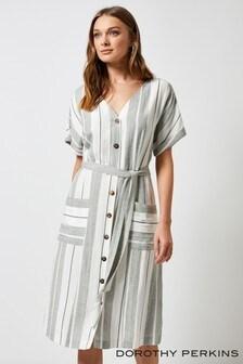 Sukienka w paski Dorothy Perkins, z tkaniny przypominającej len
