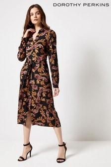 שמלת חולצה באורך מידי בהדפס פייזלי שלDorothy Perkins