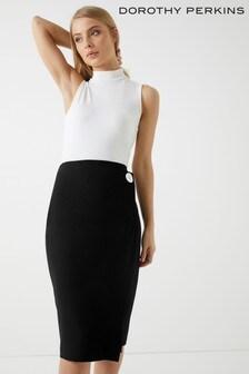 Dorothy Perkins Contrast Button Wrap Skirt