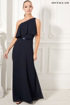 Sistaglam One Shoulder Ruffle Maxi Dress