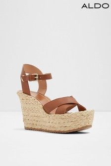 Aldo Raffia Rope Bottom Two Piece Leather Wedge