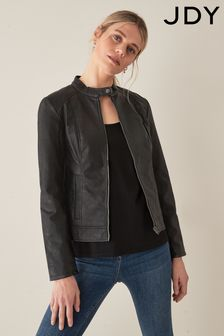 JDY Faux Leather Collarless Jacket