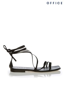 Office Leather Strappy Toe Loop Sandal
