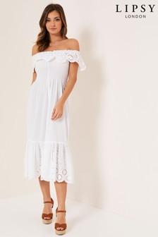 Lipsy Embroidered Bardot Midi Dress