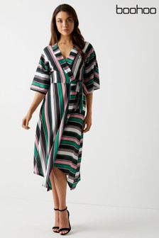 73b9b90656f Boohoo Asymmetric Hem Striped Batwing Midi Dress