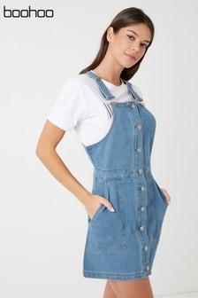 b1d1e02085 Boohoo Button Through Denim Pinafore Dress