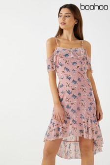 Boohoo Cold Shoulder High Low Hem Floral Dress