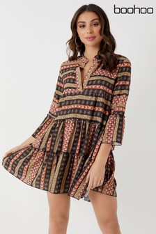 Boohoo Printed Smock Dress