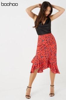 Boohoo Frill Wrap Printed Midi Skirt