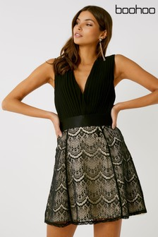 Boohoo 2-In-1 Lace Skirt Skater Dress