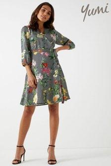 Yumi Floral Stripe Wrap Dress