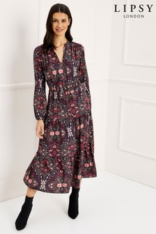 Lipsy Paisley Floral Print Tier Midi Dress