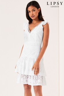 Lipsy Broderie Tiered Mini Dress