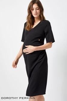 Dorothy Perkins Maternity Crepe Button Tab Dress