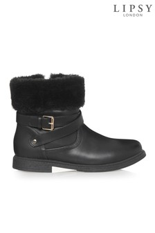 Lipsy Girl Buckle Faux Fur Trim Ankle Boot