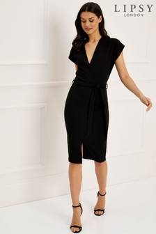 d464cd195e8 Lipsy Grown On Sleeve Wrap Bodycon Dress