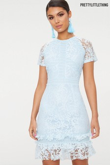 PrettyLittleThing Frill Hem Lace Bodycon Dress