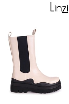 Linzi POLLY Beige PU Long Chelsea Boot With Chunky Sole