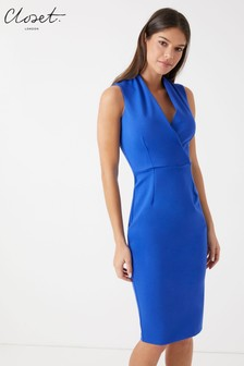 Closet Sleeveless Wrap Pencil Dress
