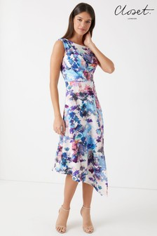 Closet Draped Floral A Line Midi Dress