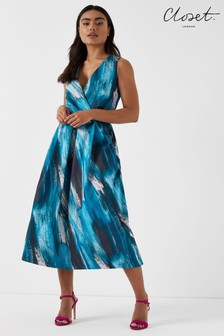 Closet Wrap Neckline Full Skirt Dress