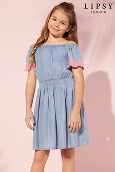Lipsy Girl Neon Embroidery Off the Shoulder Denim Dress