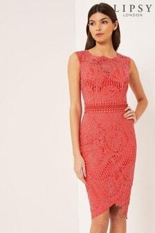 4097b6035398 Lipsy VIP Lace Asymmetric Hem Midi Dress