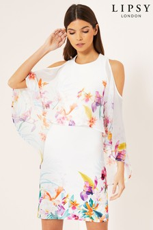 Lipsy Mila Printed Cape Overlay Dress