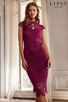 Кружевное премиум-платье миди с фигурной отделкой Lipsy VIP